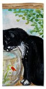 The Tuxedo Cat And The Fish Bowl Beach Towel
