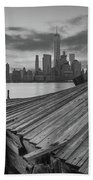 The Twisted Pier Panorama Bw Beach Towel