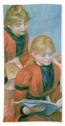 The Two Sisters Beach Towel by Pierre Auguste Renoir