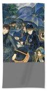 The Umbrellas Beach Towel by Pierre Auguste Renoir