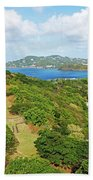 The View From Fort Rodney On Pigeon Island Gros Islet Blue Water Beach Towel