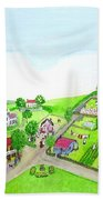 The Village - Colonial Style Art Beach Towel