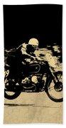 The Vintage Motorcycle Racer Beach Towel