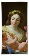 The Virgin And Child With A Rose Beach Towel