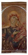 The Virgin And Child With Two Angels Beach Towel