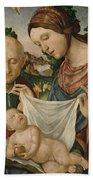 The Virgin And Saint Joseph  Adoring The Christ Child Beach Towel