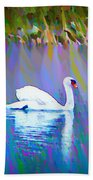 The White Swan Beach Towel by Bill Cannon