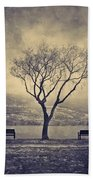 The Winter And The Benches Beach Towel