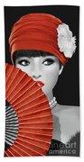 Woman With Paper Fan Beach Towel