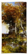 The Woodland Pool Beach Towel by Thomas Moran