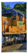 The Workhorse Squaw Creek Southern Rail Road Locomotive Art Beach Towel