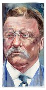 Theodore Roosevelt Watercolor Portrait Beach Towel