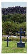 Thingvellir Church Cemetery, Iceland Beach Towel
