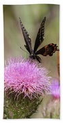 Thistle Pollinators - Large And Small Beach Towel