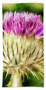 Thistle - The Flower Of Scotland Watercolour Effect. Beach Sheet