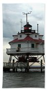 Thomas Point Shoal Lighthouse - Up Close Beach Towel