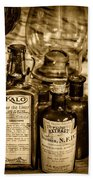 Those Old Apothecary Bottles In Sepia Beach Towel