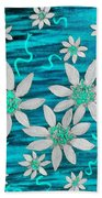 Three And Twenty Flowers On Blue Beach Towel
