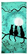 Three Black Cats Under A Full Moon Beach Towel by Laura Iverson