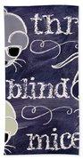 Three Blind Mice Children Chalk Art Beach Towel