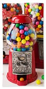 Three Bubble Gum Machines Beach Towel