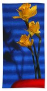 Three Cheers - Yellow Daffodils In A Red Bowl Beach Towel