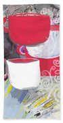 Three Coffee Cups Red And White Beach Sheet