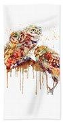 Three Cute Owls Watercolor Beach Towel