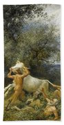 Three Faun With Cow And Calf Beach Towel