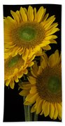 Three Golden Sunflowers Beach Towel