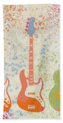 Three Guitars Paint Splatter Beach Towel