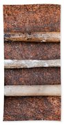 Three Hammers Against A Rust Background Beach Towel