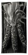 Three Indian Corn In Black And White Beach Sheet