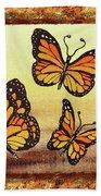 Three Monarch Butterflies Beach Towel