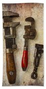 Three Old Worn Wrenches Beach Towel