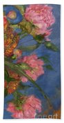 Three Peonies Beach Towel