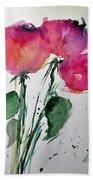 Three Pink Flowers 2 Beach Towel