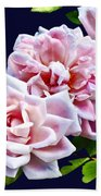 Three Pink Roses With Leaves Beach Towel