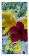 Three Plumeria Flowers Beach Towel