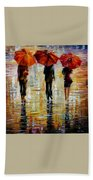 Three Red Umbrella Beach Towel