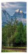 Three Sisters And The Railroad Beach Towel