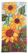 Three Sunflowers Beach Sheet
