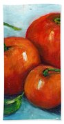 Three Tangerines Still Life Grace Venditti Montreal Art Beach Towel