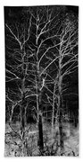 Three Trees In Black And White Beach Towel