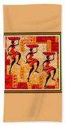 Three Tribal Dancers L B With Alt. Decorative Ornate Printed Frame. Beach Towel