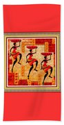 Three Tribal Dancers L B With Decorative Ornate Printed Frame Beach Towel