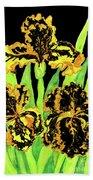 Three Yellow-black Irises, Painting Beach Towel