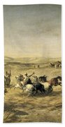 Threshing Wheat In Algeria Beach Towel