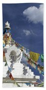 Tibetan Stupa With Prayer Flags Beach Towel