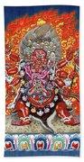 Tibetan Thangka  - Wrathful Deity Hayagriva Beach Towel